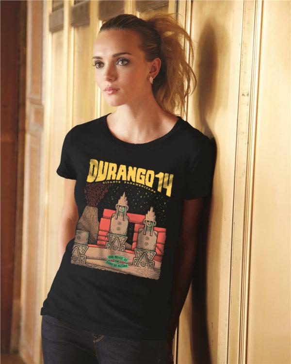 Camiseta chica negra Durango14 Los reyes de la edad de piedra