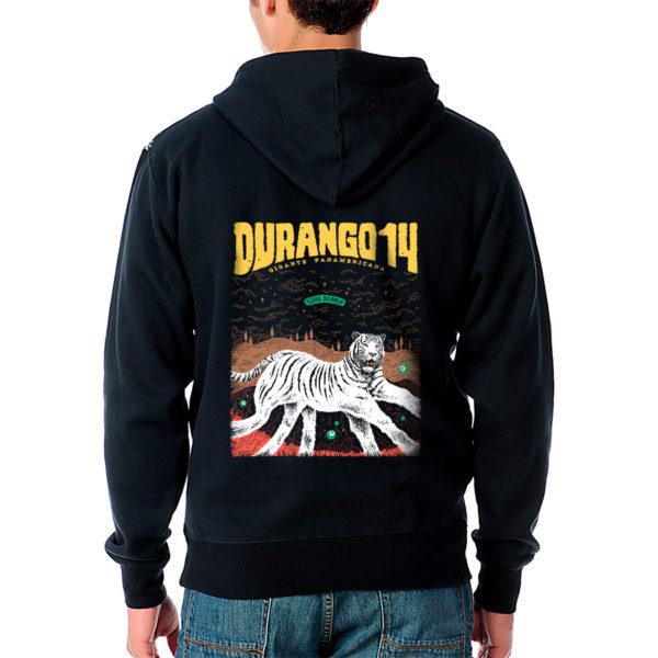 Sudadera de capucha y cremallera negra Durango14 Tigre Blanco