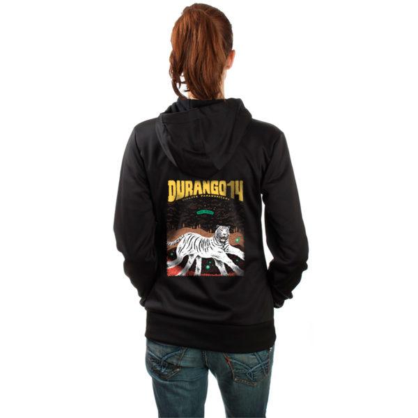 Sudadera de capucha y cremallera negra chica Durango14 Tigre Blanco